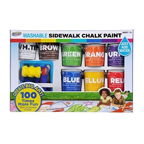 RoseArt Washable Sidewalk Chalk Paint Big Super Set with 8 Colors & 2 Foam Brushes