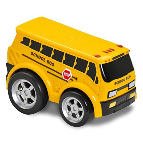 Kid Galaxy Squeezable Pull Back School Bus Toddler Wind Up Toy for Kids Age