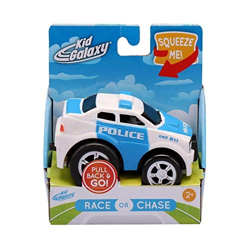 Kid Galaxy Squeezable Pull Back Police Car Toddler Emergency Vehicle Toy for Kids Age