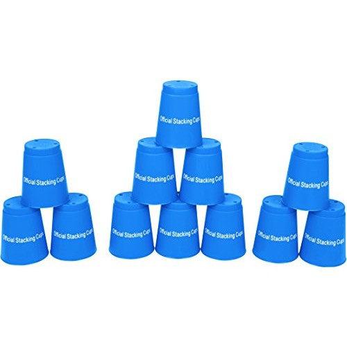 Quick Stack Cups – Set of 12 Sport Stacking By Trademark Innovations Blue