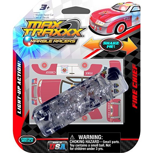 Max Traxxx Award Winning Fire Chief Light Up Marble Racer Gravity Drive 1:64 Scale