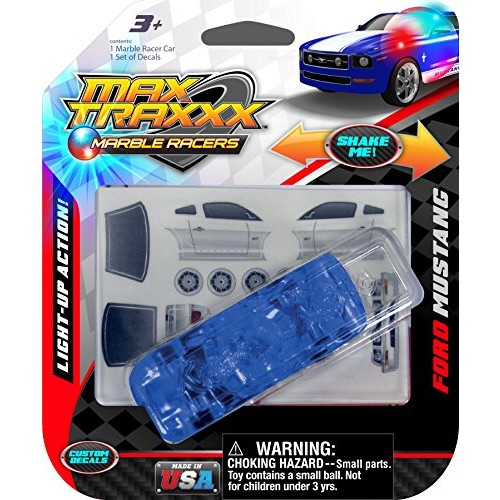 Max Traxxx Award Winning Ford Mustang Light Up Marble Racer Gravity Drive 1:64 Scale