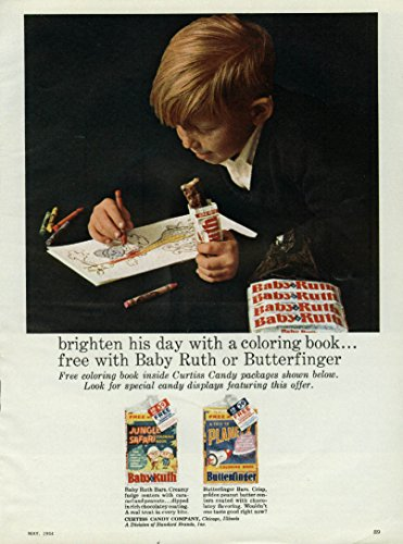 Brighten his day with a coloring book Baby Ruth Butterfinger candy ad 1964