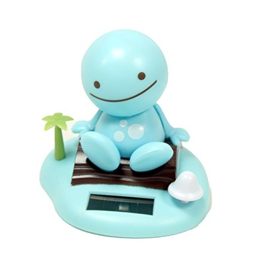Adorable ~ Smiling Happy Face Blue Nohohon Sunny Doll on a Beach Island Solar Toy Perfect Home Car Decor