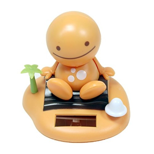 Adorable ~ Smiling Happy Face Orange Yellow Sunny Doll on a Beach Island Solar Toy Perfect Home Car Decor