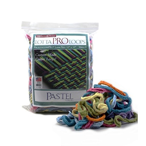 Harrisville Designs Lotta Loops 10 Pro Size Pastel Cotton Makes 8 Potholders Weaving Crafts For Kids and Adults-Assorted Colors