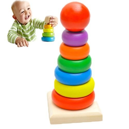 IRISMARU Baby Kid Wooden Stack Up Nest Rainbow Tower Ring Educational Toy