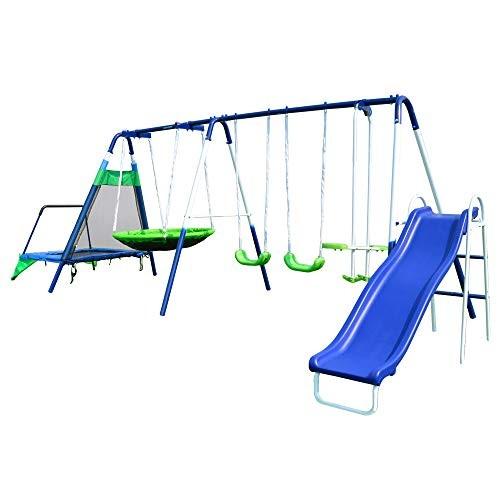 Sportspower Mountain View Metal Swing Slide and Trampoline Set