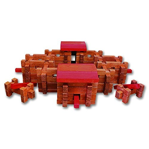 Roy Toy Fort Wilderness Log Cabin 105 piece classic building set real wood made in the USA