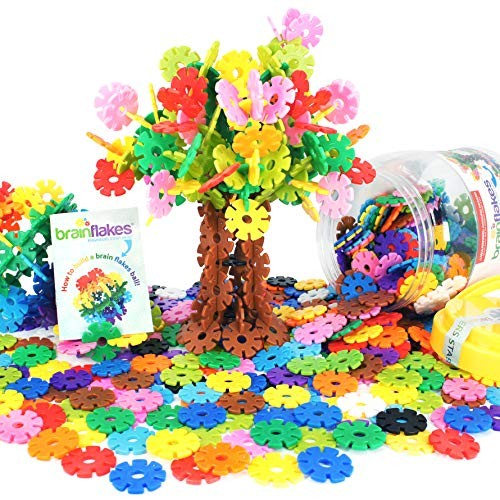 VIAHART Brain Flakes 500 Piece Interlocking Plastic Disc Set A Creative and Educational Alternative to Building Blocks Tested for Children's Safety Great STEM Toy Both Boys Girls