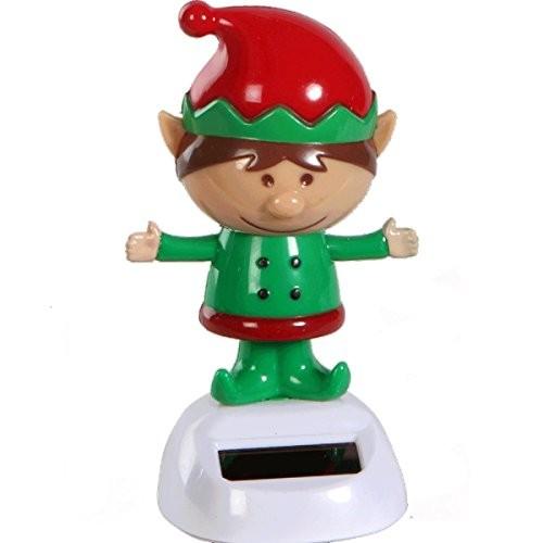 ~ Cute Christmas Dancing Elf Santa's Magic Helper Bobble Head Solar Toy by KT