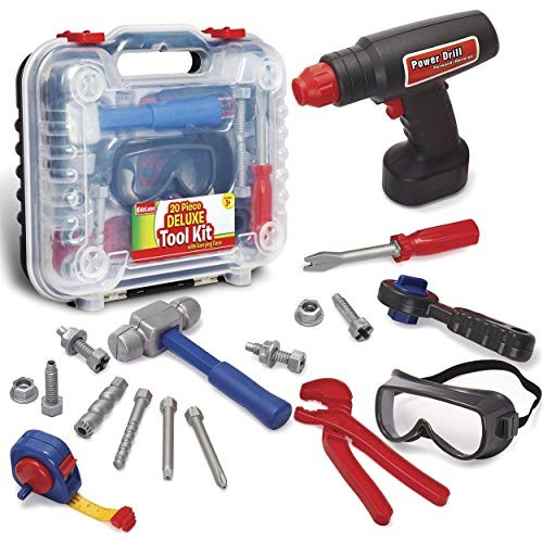 Durable Kids Tool Set with Electronic Cordless Drill and 18 Pretend Play Construction Accessories a Sturdy Case