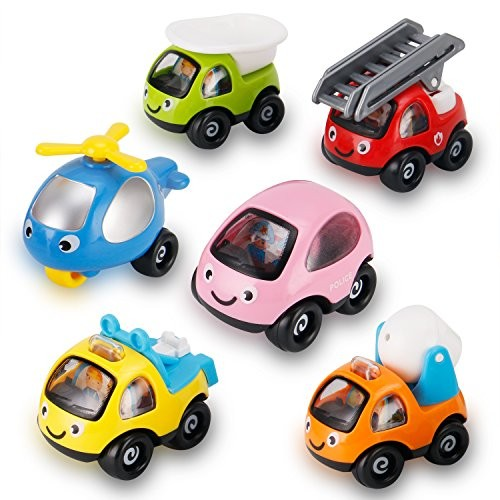6 Pack Cartoon Construction Toy Cars Trucks and Construction Rescue Vehicles Play Set  