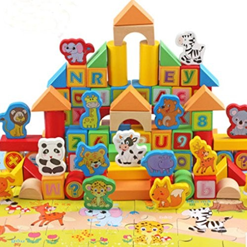 A variety of animal model theme children wooden toy building blocks