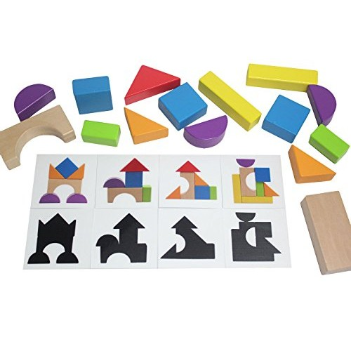 Curious Minds Busy Bags Wooden Block Patterns – Create and Silhouettes with Colorful Organic Building Blocks Toy