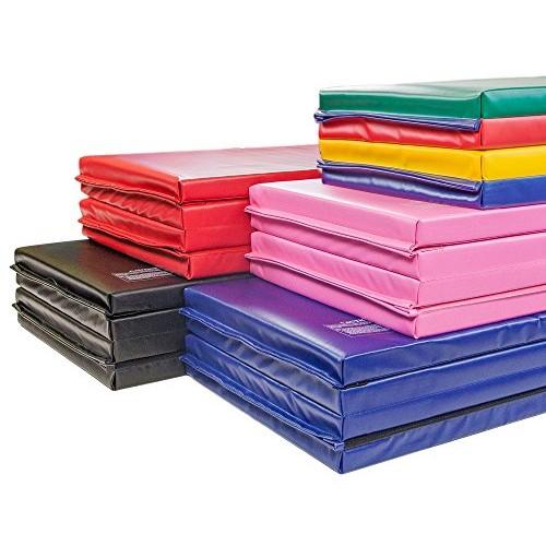 IncStores Premium Folding Mats 2 Featuring 4 Sided Velcro – Crosslink Polyethylene Foam encased with 18 oz Vinyl Fabric for Gymnastics Tumbling Cheerleading and Wrestling