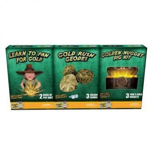 Discover with Dr Cool 3 Pack Geology Science Kit – Gold Panning + Geodes Dig for Golden Nuggets