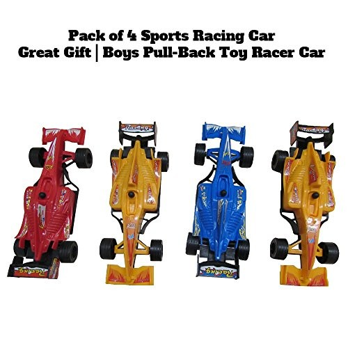 4 Sports Racing Cars Pull Back & Let Go Race Cars Toys 4 Pack