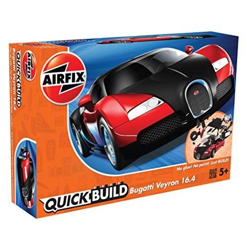 Airfix Quickbuild Bugatti Veyron Red & Black Brick Building Plastic  Model Kit J6020