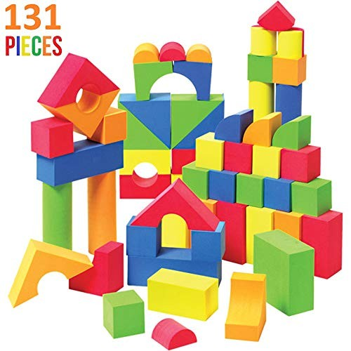 Liberty Imports Creative Educational EVA Foam Building Blocks – Ideal Construction Toys for Toddlers 131 Pcs