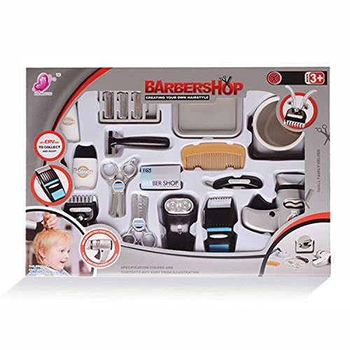 wps Play Accessories Barber Shop Salon Hairstyle Set Kit with Shaver Mirror Clipper 17in1 for Boy Kids Gift