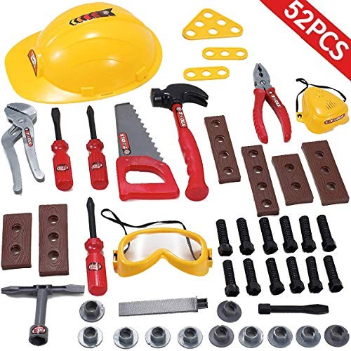Liberty Imports Little Handyman Repair Toy Tool Set Pretend Play Construction with Hard Hat Nuts Bolts and Safety Accessories – Realistic Plastic Kids Children Playset 52 Piece Set
