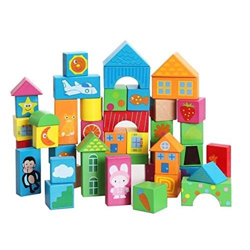50 Colorful Blocks Larger Particles Take Cognitive Preschool Children Heap of Wooden Toy Building