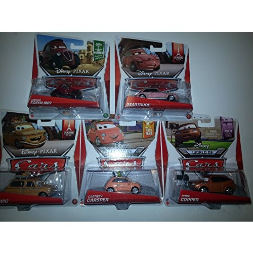 Disney Pixar Cars lot of 5: Includes Geartrude Cartney Caspar Uncle Topolino Lubewig and