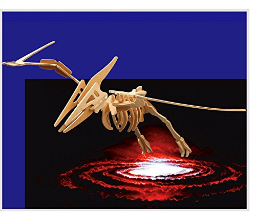 Puzzled 3D Puzzle Big Pteranodon Wood Craft Construction Model Kit Educational DIY Wooden Dinosaur Toy Assemble Unfinished Crafting Hobby to Build & Paint for Decoration 23 Pieces Pack