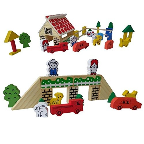 Wooden educational toys for children farm building blocks to spell combination environment