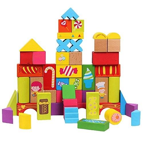 52PCS grain of large blocks wooden educational toys building scenario