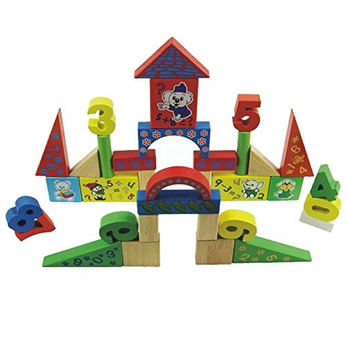 wooden DIY digital heap tower building blocks learning and education toys