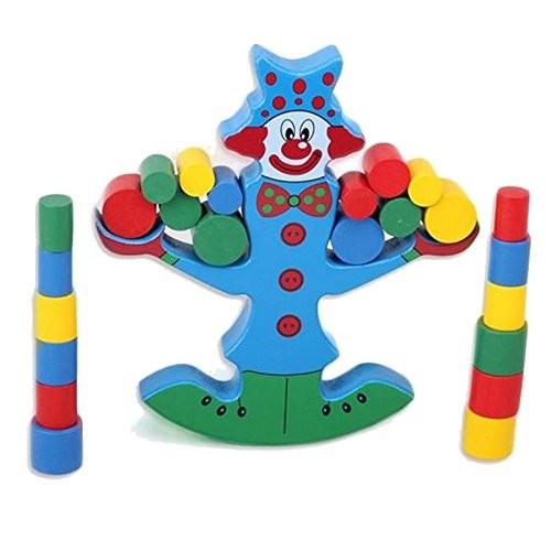 wooden building blocks toys clown balance beam