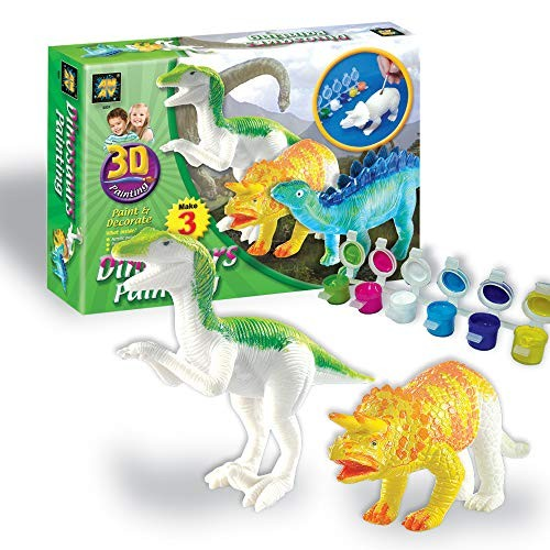 AMAV Toys 3D Painting-Dinosaurs Arts & Crafts for Kids Age 4+ 6 Colors to Paint with Dinosaur Lovers A Perfect Artistic Activity Ideal Gift