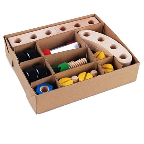 30 Pieces Changeable Nut Building Blocks Educational Wooden Toys