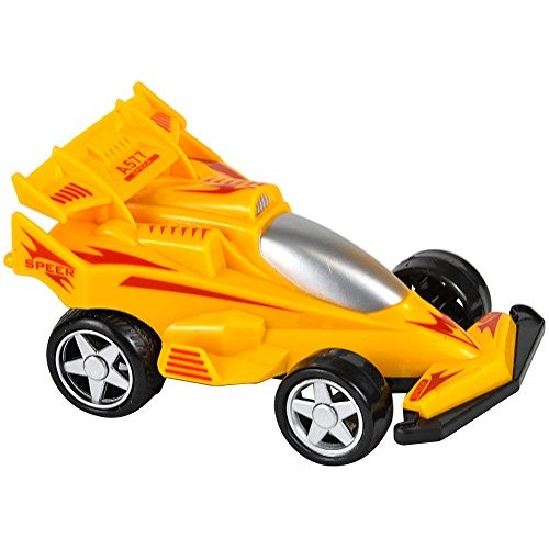 Rhode Island Novelty Rev Up and Go Friction 4 Formula One Yellow Race Car
