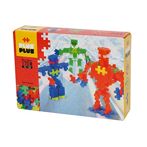 PLUS – Instructed Play Set 170 Piece Robots Construction Building Stem Toy Interlocking Mini Puzzle Blocks for Kids 03726