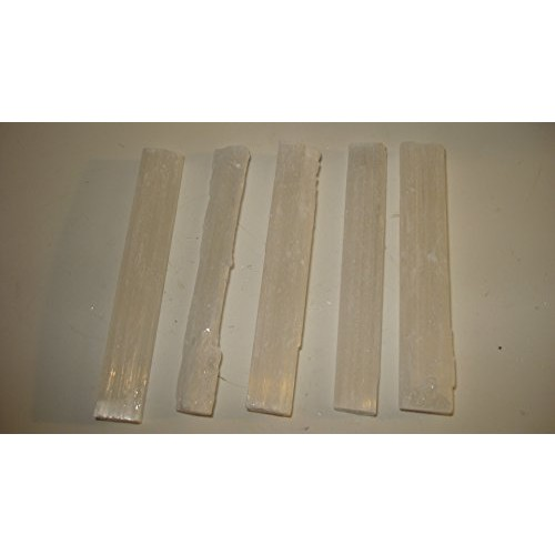 5pc 3 Raw Selenite Hand Cut A-Grade Sticks Sticklets 100% Natural Healing Crystal Gemstones