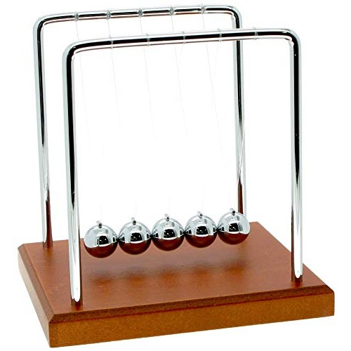 Westminister Inc Newtons Cradle Balancing Balls Science in Motion Wood Grain