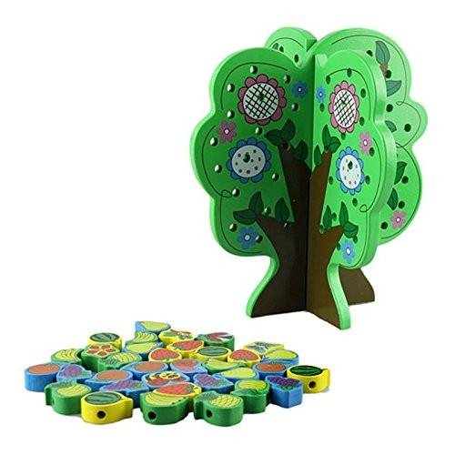 Wood Building Blocks Tree Early Childhood Learning Education Wooden Toys