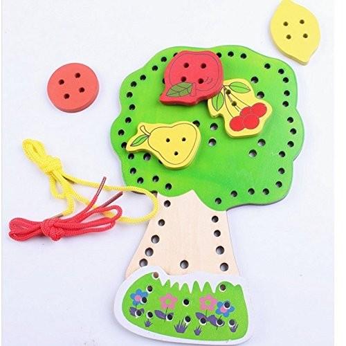 Wooden Blocks Fruit Tree Beads Montessori Building Toys