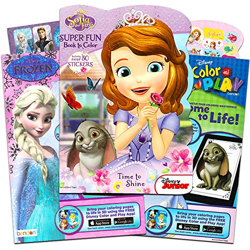 Disney Sofia the First and Frozen Coloring Activity Book Bundle with Stickers 3 Books Party Supplies