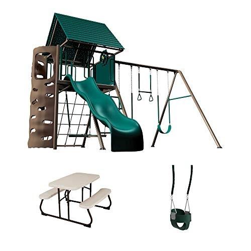 Lifetime 90188 Swing Set Childrens Picnic Table & Bucket Swing Bundle Earthtone
