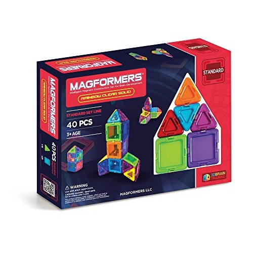 Magformers Basic Clear Rainbow 40 Pieces Colors Educational Magnetic Geometric Shapes Tiles Building STEM Toy Set Ages 3+