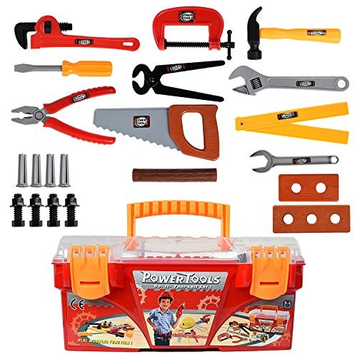 WolVol 26-Piece Tool Box Set with Removable Tray – Great Gift Toy for Boys