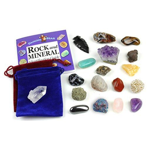 Dancing Bear Rock and Mineral Geology Education Collection – 18 Pcs of Gem Stones w Identification Book Box 2 Velvet Pouches Included Kit for Kids
