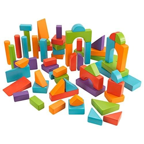 KidKraft 60 PC Wooden Block Set – Bright Colors
