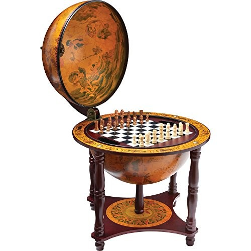 Kassel 13 Diameter Globe with 57pc Chess and Checkers Set