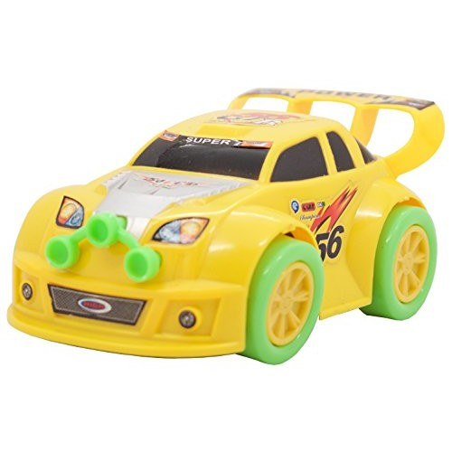 TECHEGE  Battery Powered Yellow Toy Car- Flashing Lights Music Moves Around on Its