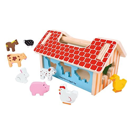 Bigjigs Toys Farm House Shape Sorter – Classic Wooden Toy with 8 Animal Shapes